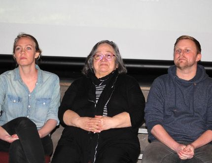 Filmmakers Adrienne and Brad Leitch flank Cree Elder Ellen Cook as the trio takes questions during the film screening.