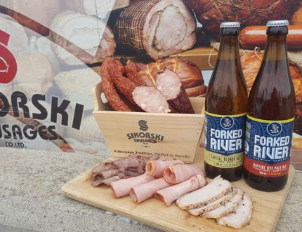 One suggestion to get your mouth watering: Capital Blonde Ale with Polish ham kolbassa.