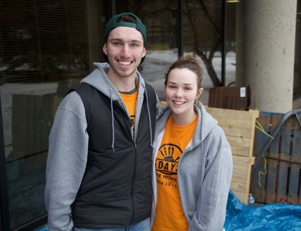 Joshua Puszka and Sophie Erickson, two students at the University of Alberta's business school, spent five days sleeping outside last week to raise money and awareness for Youth Empowerment & Support Services, a non-profit organization that helps youth at risk. Madeleine Cummings, Edmonton Examiner