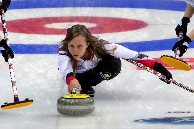 Canada's Rachel Homan releases a stone against Sweden during the World Women's Curling Championship held in Beijing's Capital Gymnasium on Wednesday, March 22, 2017. (Ng Han Guan/AP Photo)