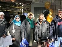 Government sponsored Syrian refugees (from left) Fardous Abu Hajar, Amal Sourani, Sahar Milli, Jalal Milli and Khaled Al Sawal at the KEYS Job Fair at Portsmouth Olympic Harbour in Kingston on Wednesday. (Steph Crosier/The Whig-Standard)