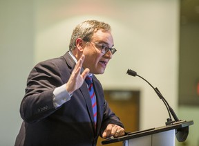 Ezra Levant of The Rebel addresses students during a talk organized by the Ryerson Campus Conservatives at Ryerson University's Mattamy Centre in Toronto on Wednesday, March 22, 2017. (ERNEST DOROSZUK/TORONTO SUN)