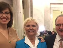 From left to right: Fort Saskatchewan—Vegreville MLA Jessica Littlewood, Mayor Gale Katchur and Transportation Minister Brian Mason at the Alberta Legislature during the provincial budget announcement. (Supplied photo)