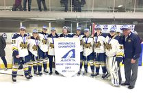 Sherwood Park was represented on the Midget AAA provincial championship St. Albert squad by Mackenzie Butz, Megan Arthur, Taylor Anker, Kaylee Vader, Cassidy Maplethorpe, Shyla Kirwer, Hannah MacDonald, Keely Vachon, Brianna Sank and coach Dan Auchenberg. Photo supplied