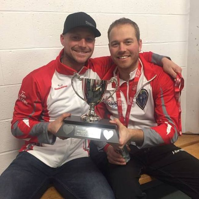 Grande Prairie's Tom Sallows (left) and Geoff Walker captured silver at the 2018 World Men's Curling Championships in Las Vegas with Team Gushue