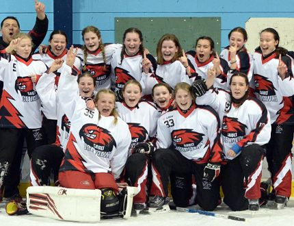 Photo submitted Members of the Sault's Under-16 Ice Hawks ringette team celebrate winning the provincial championship in Pickering, Ont.
