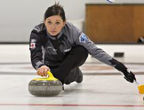 Kalynn Virtue of Alberta delivers a rock during a pro-am round on Thursday at the Gryphin Mixed Doubles Classic at the Brantford Golf and Country Club. Eighteen teams are competing this weekend for a berth in the 2018 Canadian mixed doubles Olympic trials in January. (Brian Thompson/The Expositor)