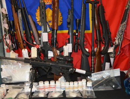 Police seized a number of weapons, pharmaceutical pills, meth, GHB and cocaine in a search of a home in Wembley, March 16. Supplied