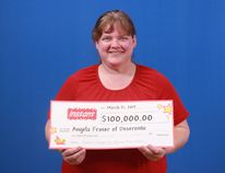 OLG photo Angela Fraser of Deseronto recently won $100,000 on a scratch ticket. Fraser said she plans to travel and upgrade her vehicle with the winnings.