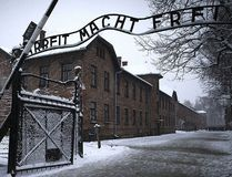 "The entrance to the former Nazi concentration camp Auschwitz-Birkenau with the lettering ""Arbeit macht frei"" in Oswiecim, Poland is pictured in this Jan. 25, 2015 file photo. (JOEL SAGET/AFP/Getty Images)"