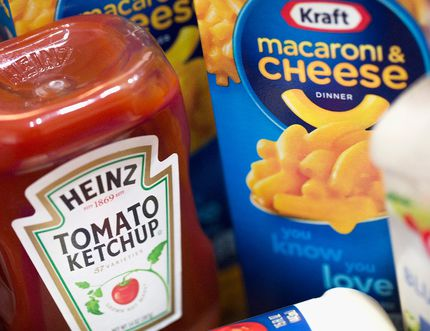 In this photo illustration, Kraft and Heinz products are shown on March 25, 2015 in Chicago, Illinois. (Photo Illustration by Scott Olson/Getty Images)