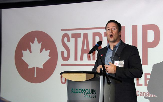 Chris Doré, Entrepreneur-in-Residence for Algonquin College Waterfront Campus, addresses those gathered for the offical launch of Startup Ottawa Valley. The group is a support network for local entrepreneurs that has the backing of Startup Canada, the national voice of entrepreneurs.
