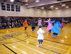 Members of the Skye Dancers perform traditional Haudenosaunee dances for students at a Truth and Reconciliation ceremony at Assumption College on Friday. (Michael-Allan Marion/The Expositor)