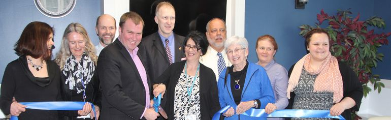 Dignitaries including Timmins Mayor Steven Black officially open the Timmins Hospice Centre at Timmins and District Hospital on Friday.
