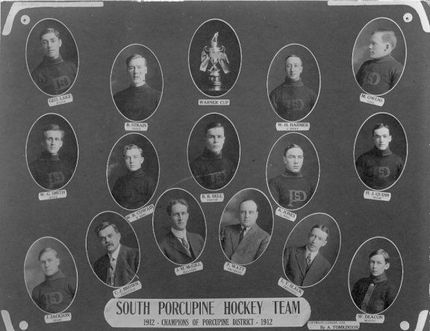 Hockey was a big deal in the area in 1912 – here are the Porcupine District Champions, winners of the Warner Cup that year, the South Porcupine Hockey Team. (Photo courtesy of the Timmins Museum: National Exhibition Centre)
