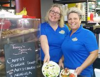 Northern Tikes owner Katy Latimer, left, and general manager Lucie St. John show off some of the cafe options that have become a surprisingly big part of their business. Mike Anthony / For The Nugget