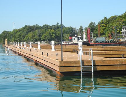 The mega-dock at Ivy Lea Club can accommodate yachts of 55 feet long