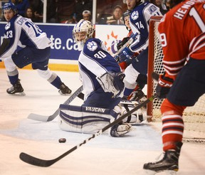 OSHAWA -- Sudbury Wolves' netminder Jake McGrath, had his eye on the puck during Game 1 of the OHL Eastern Conference quarter-final against the Oshawa Generals, at the Tribute Communities Centre Friday evening. March 24, 2017 Sabrina Byrnes / Metroland