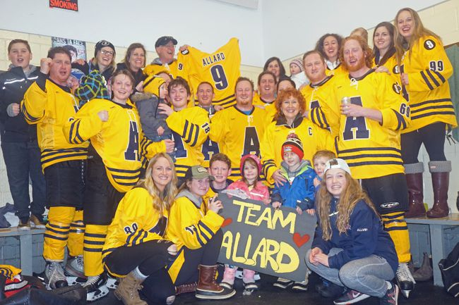 The Allard family came together as one team to take part in the Chapeau Family Hockey Tournament from March 24-25 in honour of Ethan Allard who passed away in January. Of the four teams in the A Division, the Allard team came out victorious.  In back row (left to right) are Ethan's cousin Caleb Dubeau, Ethan's brother Kyle Allard, Kyle's wife Stephani, Kyle's son Austen, Shawn's (Ethan's brother) wife Andrea, Ethan's brother Tyson, Ethan's father Shane (holding Ethan's hockey jersey), Adam's (Ethan's brother) wife Rachael with her daughter Audrey, Ethan's sister Paige, Ethan's sister Hope, Hope's daughter Braelynn and Ethan's sister Faith. In middle row (left to right) are Shawn's (Ethan's brother) sons Tristan, William and Sutton, Ethan's brother Shawn, Justin and Adam, Justin's wife Jamie, Ethan's mother Linda and Ethan's brother Jamie and Cole. In front row (left to right) are Ethan's sisters Holly and Felicity next to his nephews/nieces Owen, Payton, Justin Jr., Brennick and Ashley.