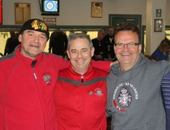 From left, retired Warrant Officer Tom Martineau, a Soldier On participant, Lt.-Col. Patrice Beauchamp, Steve Jeffery and Wayne Williams at the Solder On Rocks bonspiel at Garrison Golf and Curling Club on Saturday. (Steph Crosier/The Whig-Standard)