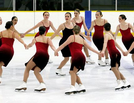 The Nexxice senior team from the Burlington Skating Centre gives an exhibition performance during the Bernie Deveau-Bert Winfield Invitational synchronized skating competition Saturday at Thames Campus Arena. Nexxice won its 10th Canadian senior championship in February and will compete at the world championship April 7-8 in Colorado Springs, Colo. Chatham native Shelley Simonton Barnett coaches Nexxice, which has won two world titles. The Deveau-Winfield Invitational featured 34 teams with approximately 500 skaters. (MARK MALONE/The Daily News)
