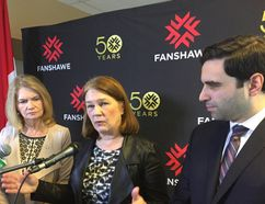 Federal Health Minister Jane Philpott, flanked by London MPs Peter Fragistakos and Kate Young addressed the upcoming marijuana legalization bill at a stop at Fanshawe College Monday. Hank Daniszewski/The London Free Press