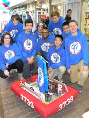 The Oakbotics team recently demonstrated their robots powers at Cherryhill Village Mall during Winterfest. They look forward to competing in a regional event in April. (Photo submitted)