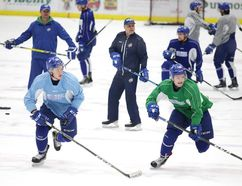 Members of the Sudbury Wolves run through some drills during team practice in Sudbury, Ont. on Monday March 27, 2017. The Wolves host the Oshawa Generals on Tuesday for game 3 of the best of 7 playoff series, which is tied at 1 game each.Gino Donato/Sudbury Star/Postmedia Network