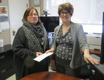 Nickel City Sound President Leanne Clendening-Purpur presented a $100 cheque to Kim Pelkman, Pioneer Manor manager of therapeutic services. Supplied photo