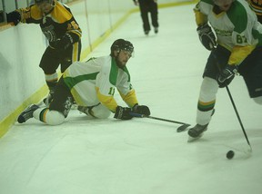 """Emotions were high during the WOAA Senior """"A"""" championship in Seaforth March 26. The Cents lost 10-5 to the Milverton Four wheel Drives. (Shaun Gregory/Huron Expositor)"""