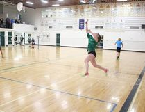 Annika Hufnagel of the MUCC Comets' badminton team competed in league play at MUCC on Wednesday, March 22.
