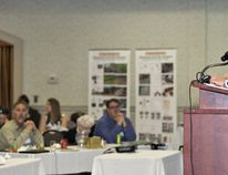 Jorge Acevedo, head of global agri-development and innovation for Ferrero, speaks on Tuesday at the eighth annual Ontario Hazelnut Symposium in Brantford. (Brian Thompson/The Expositor)