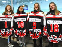 Alexis Barber, Taya Barr, Ainsley Jackson and Jaelynn Macaulay will take part in the OWHA provincial championships in April with the Norfolk bantam HERicanes less than 12 months after winning a provincial lacrosse title with the Norfolk Timberwolves. JACOB ROBINSON/Simcoe Reformer