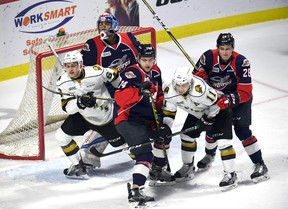 General action shot as the London Knights battle the Windsor Spitfires in Ontario Hockey League playoff action at the WFCU Centre in Windsor, Ontario on March 28, 2017.  (JASON KRYK/Windsor Star)