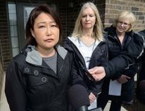 Jin Cha speaks about her brother Alex Cha during a press conference at Participation House in London to draw attention to the need for more assisted living facilities on Friday March 24, 2017. At right is Barbara Belbeck speaking for her son Michael and London MPP Peggy Sattler (MORRIS LAMONT, The London Free Press)