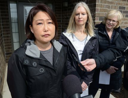 Jin Cha speaks about her brother Alex Cha during a press conference at Participation House in London to draw attention to the need for more assisted living facilities on Friday March 24, 2017. At right is Barbara Belbeck speaking for her son Michael and London MPP Peggy Sattler MORRIS LAMONT/THE LONDON FREE PRESS /POSTMEDIA NETWORK