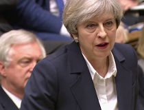 Britain's Prime Minister Theresa May speaks in the House of Commons in London in this image taken from video Wednesday March 29, 2017. May will announce to Parliament that Britain is set to formally file for divorce from the European Union Wednesday, endi