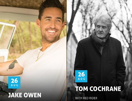 Lucknow's Music in the Fields runs Aug. 24-26, 2016 featuring country stars Jake Owen and Tom Cochrane on Aug. 26, and Tim Hicks on Aug. 25, with many more musicians taking part at the festival.