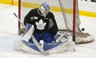 Toronto Maple Leafs Frederik Andersen worked out as part of the optional skate in preparation for their final three-game road trip of the season which starts Thursday against the Nashville Predators on Wednesday March 29, 2017. Jack Boland/Toronto Sun/Postmedia Network