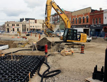 Construction crews work on the redevelopment of Market Square on Wednesday, March 29, 2017 in Stratford, Ont. The project is on pace to be completed by June 23. (Terry Bridge/Beacon Herald/Postmedia Network)