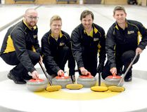 The McIntyre Curling Club's Chris MacInnes rink will be competing in the 2017 Travellers Men's and Women's Northern Ontario Provincials at the North Bay Granite Curling Club this weekend. Members of the team representing Region 6 are, from left: second Eric Glaister, vice Ryan Denisen, skip MacInnes and lead Eric Lapajne. THOMAS PERRY/THE DAILY PRESS