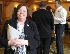 Tracy Hanson, vice-president of network membership relations with the Ontario Chamber of Commerce, presented the report at a business function hosted by the Timmins Chamber of Commerce at Cedar Meadows Resort on Wednesday.