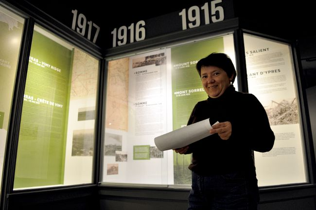Georgiana Stanciu, executive director and curator of the Royal Canadian Regiment Museum, inside a new First World War exhibit March 22, 2017. The timely exhibit opens March 30. CHRIS MONTANINI\LONDONER\POSTMEDIA NETWORK