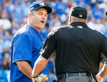 Blue Jays manager John Gibbons gets ejected in the 9th after questioning a call as the Toronto Blue Jays lose to the Boston Red Sox at the Rogers Centre in Toronto on September 11, 2016. (Stan Behal/Toronto Sun)