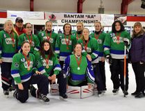 Timmins Viel Auto downed Sudbury 3-2 at the Archie Dillon Sportsplex to take gold in the U16 Junior Division at the 2017 Northeast Regional Ringette Tournament. The team is made up of, front row, from left: Kara D'Arcangelo, Marie Bourdages-Côté, Emily Roberts; back row, from left: Mélina Verreault, coach Guy Trudel, Karine Trudel, Brooke Perrier, Kristen Vane, Lexie Young, Émilie Viel, Alley Perrier, Neomi Bordeleau, assistant coach Sue Viel; SUPPLIED PHOTO/THE DAILY PRESS
