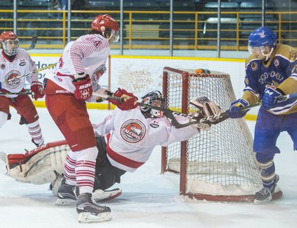 St. Catharines Falcons goaltender Owen Savory, shown in junior B playoff action against the Caledonia Corvairs in this file photo, is returning for another season.
