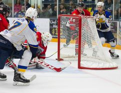 Fort McMurray Oil Barons captain Brandon Ralph sends the puck just wide of the net Saturday at the Casman Centre. The MOB fell in game two of the North Division Final Saturday by a 5-3 score. Robert Murray/Fort McMurray Today/Postmedia Network