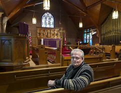 Reverend Douglas Pizzey sits inside St. John's Anglican Church on Colborne Street West in Brantford last week. Built in 1894, the church is closing due to a declining congregation. A deconsecration service will be held May 6, 2017 at 11 a.m.. Brian Thompson/The Expositor