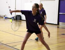 Aidan Stone and her doubles partner Claire Hensrud won their badminton match over a pair of students from the Dryden Eagles, Friday, March 31 at Beaver Brae Secondary School, as the Broncos hosted a five-school exhibition series in preparation for the NorWOSSA qualifier. SHERI LAMB/Daily Miner and News/Postmedia Network