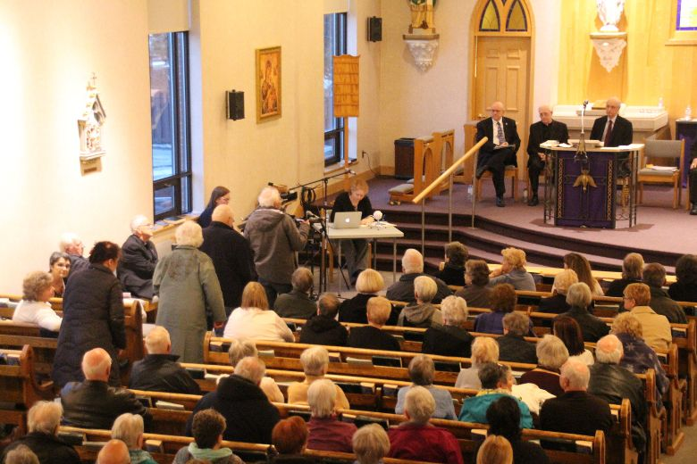 <p>Parishioners line up to ask questions and comment on plans of a possible merger of the Diocese of Alexandria-Cornwall and the Archdiocese of Ottawa on Monday, April 3, 2017 in Cornwall, Ont. </p><P> Alan S. Hale/Cornwall Standard-Freeholder/Postmedia Network